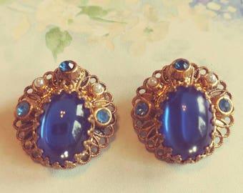 Blue West Germany Clip On Earrings