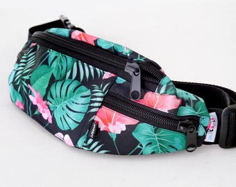 Hip Bag Fanny Pack Tropical Monstera, Colored Bum Bag dog walking bag Psiakrew, Dog Mom Hip Bag, Dog Lover gift idea