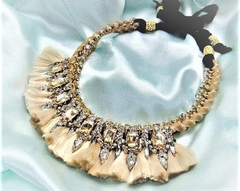 Statement necklace nude beige with Rhinestone satin ribbon pendant necklace