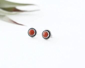 Stud Earrings // Apple Coral // Teeny Studs // Coral // Dot Earrings // Sterling Silver