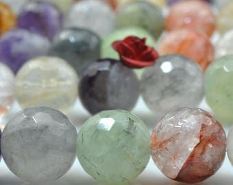 37 pcs of Natural Mixed Quartz faceted round beads in 10mm