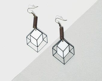 Modern Geometric Earrings, Minimalist Black and White Cube Earrings, Dimensional Jewelry