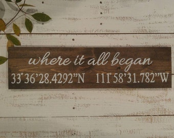 Where It All Began, Latitude & Longitude Sign, Housewarming Gift, Address Sign, Anniversary Gift,Wedding Gift,Coordinates Sign,Wedding Decor