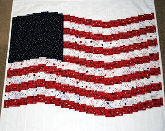 Red, White and Blue American Flag, Bargello Style Wall Hanging/Table Topper Fourth of July