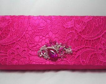 Pink Lace Evening Clutch, Pink Formal Handbag, Hot Pink Formal Occasion Clutch Bag Pink Crystal Brooch Clutch Pink Lace Prom Bag Lace Clutch