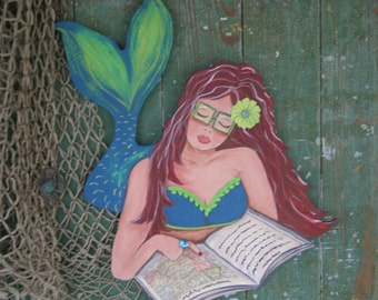 Mermaid Wood Wall Art mermaid wall art playing guitar art hand painted wood coastal
