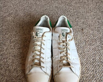 RARE vINTAGE 70'S Adidas Stan Smith Haillet Made in France Leather Tennis Shoes Sneakers Size 13/