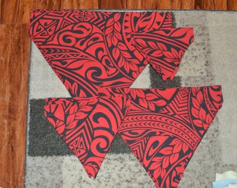 Red and black Polynesian fabric pet on-collar bandana, dog bandana, cat bandana, collar bandana. no tie bandana, pet neckwear