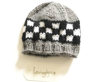 Knitted beanie / checker beanie / gray / ready to ship / newborn baby / made to order / beanie