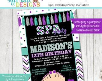 Spa Party Birthday Invitation Slumber Sleepover Party - Birthday Party Invitation - Printable Purple Teal Black Silver Glitter