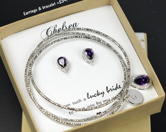 Purple ,Personalized Bridesmaid Gift, Bridesmaid Earrings Necklace Bracelet, Bridesmaid Jewelry Set, Mother of Bride Gift,Bridesmaid Gifts
