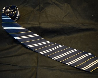 Vintage Made in the U.S.A. Huntington Silk Navy, white, and yellow neck tie