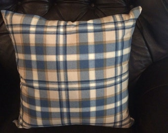 Pillow cover. decorative pillow cover. blue and tan plaid pillow cover. throw pillow. accent pillow. sofa pillow. cushion cover. sham.
