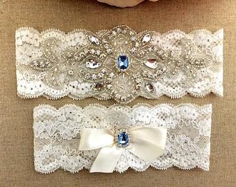 Wedding Lace Garter Set - Blue Rhinestone Garter - Crystal Garter - Toss Garter - Bridal Garter - Wedding Garter - Keepsake Garter