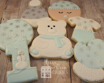 Winter ONEderland Themed Decorated Sugar Cookies