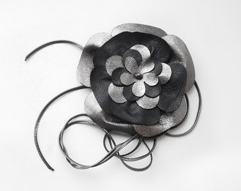 Womens Flower belt, Blackand silver leather tie belt. ALL SIZES