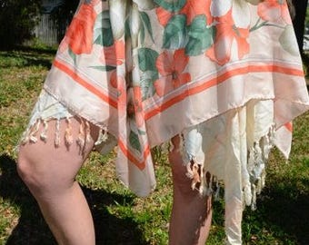 Peach Flower Fringe Vintage Fairy Skirt
