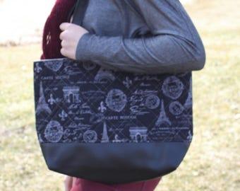 Black Paris womans purse, handmade bag, ladies shoulder bag, large purse, designer bag, womens handmade handbag, women shoulder purse