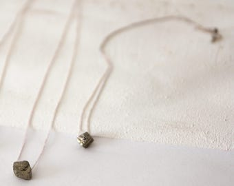 man silver pyrite necklace