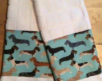 Dachshund kitchen towels, dog towels, bar towels, dachshund fabric, doxie towels