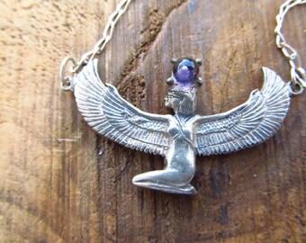 Vintage Sterling Silver ISIS Goddess Necklace - Sterling Silver Egyptian Goddess - Winged Lady Necklace