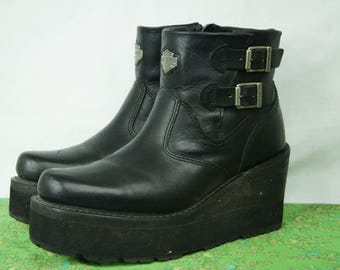 Black Harley Davidson Motorcycle Boots with Zipper & Buckles - 90s Harleys - 9 Womens US, 7 UK, 40 EU - Genuine Riding Boot - D301