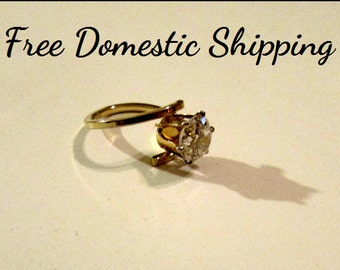 Vintage Solitaire Ring, Cubic Zirconia Ring, Engagement Ring, Promise Ring, 3 Carat CZ Crystal Ring, Gift for Her, Free US Shipping