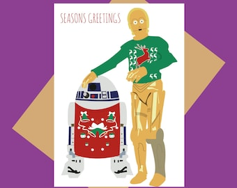 Christmas card - Star Wars - Droids in sweaters