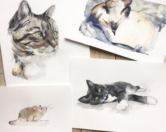 CUSTOM PET PAINTING, Custom pet portrait, watercolor, cat portraits, siamese cat, gift, custom pet painting, cat, pet portrait, Ninja Heevel