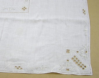 Vintage Ivory Linen Tablecloth with Cutwork and Embroidery