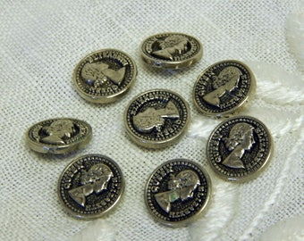 Queen Elizabeth Buttons- Silvertone - Set of Eight