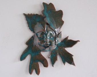 Leaf Baby,clay wall art,teal green glaze,indoor outdoor,baby shower gift,