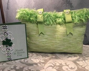 St Patrick's Day green fringed single placemat shoulder hand bag or tote