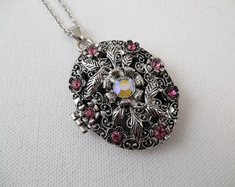 Floral Rhinestone Locket Necklace