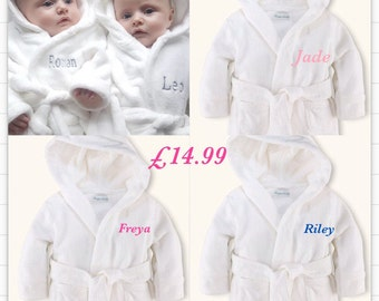 1x Personalized bathrobe Dressing gown Embroidered for baby girl or boy or DESIGN YOUR OWN