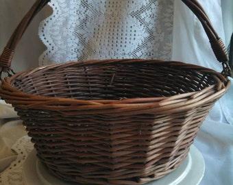 Vintage Swinging Handle Gathering Basket Dark Stained Wicker