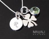 Initial Necklace, Four Leaf Clover Necklace, Shamrock, Initial & Birthstone, Shamrock Birthstone Necklace, Silver Clover, Mother Necklace