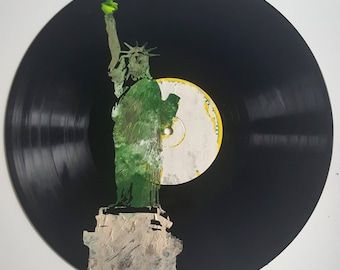 LP Acrylic Painted NYC Statue of Liberty on Ripped Label