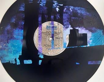 LP Acrylic Painted NYC Brooklyn Bridge @ Sunset on Silver Label
