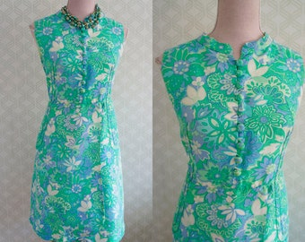 Elegant Silk Vintage dress Mad Men style. Large silk dress vintage 60s.