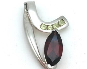 Garnet and Peridot Modern Pendant