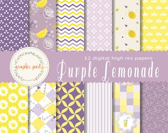 Purple Lemonade Digital Papers for Scrapbooking