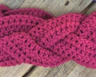 Crochet Chunky Plaited earwarmer headband, crochet earwarmer  headband,  child to adult sizes