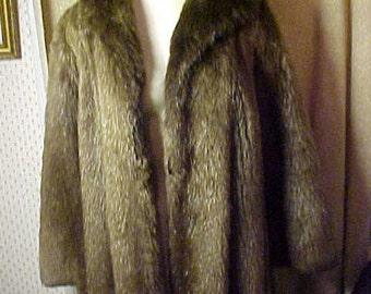 Vintage Full Length Beaver  Fur Coat, Brown Satin Lining, Lovely Collar, 3 Closure #2101