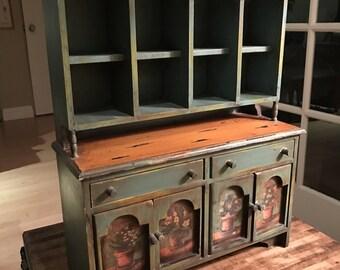 Vintage Miniature Toy Playhouse Dollhouse Kitchen Hutch China Cabinet