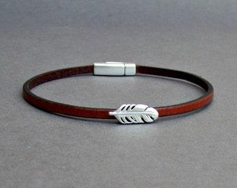 Feather Bracelet Mens Tiny Leather Bracelet Dainty Bracelet Boyfriend Gift Customized On Your Wrist width 3mm
