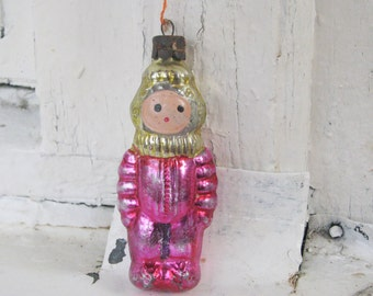 Soviet Christmas tree decoration, Astronaut Christmas Glass Ornament - Made in USSR