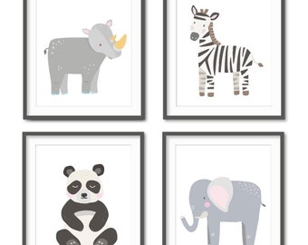 Sarafi Animal Nursery, Black and White Nursery, Safari Animals, Baby Animal Nursery, Panda, Zebra, Gender Neutral Nursery, Animal Art Prints