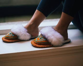 Wool Slippers Felted Slippers Women Slippers Home Shoes Warm Slippers Handmade Slippers Boo Orange