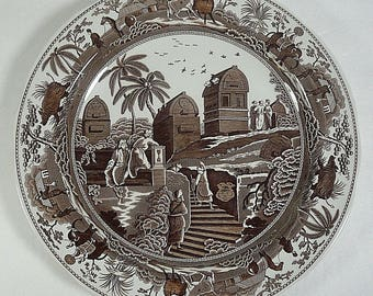 "Spode Archive Collection Brown Caramanian 10 3/8"" Dinner Plate England"